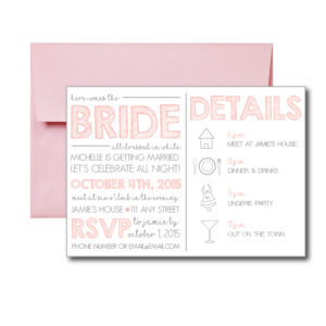 Simple Pink and Grey Bachelorette Invite