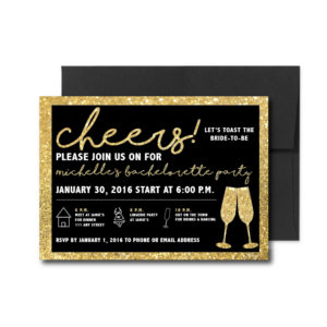 Black and Gold Sparkle Bachelorette Invite