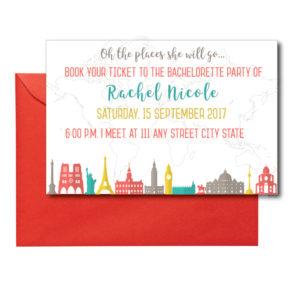 Travel Themed Bachelorette Invite