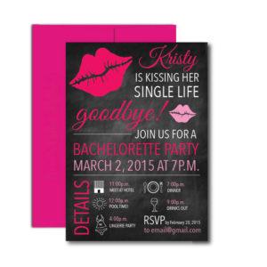 Kissing Her Sing Life Goodbye Bachelorette Invite