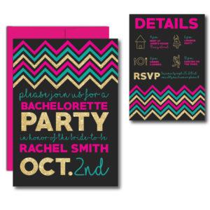 Glitter Chevron Bachelorette Invite