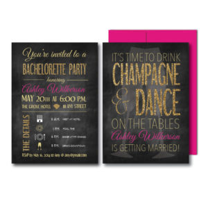 Glitter Champagne Bachelorette Invite