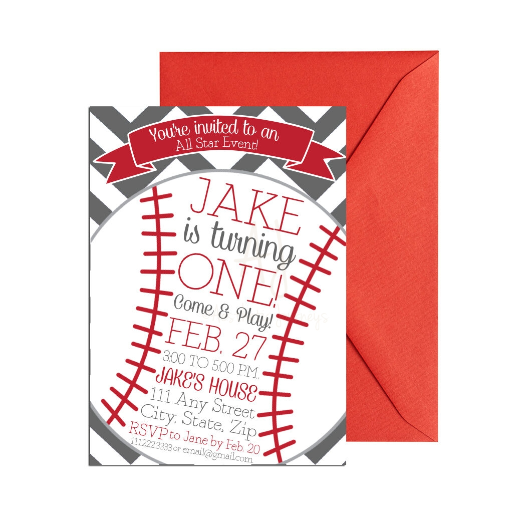 Baseball Party invite with chevron background