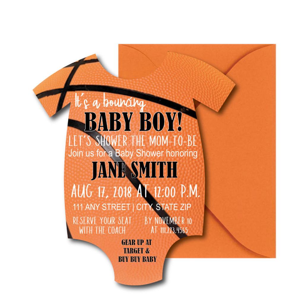 Onesie-Shaped Basketball Baby Shower Invite