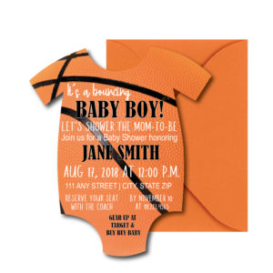 Onesie-Shaped Basketball Baby Shower Invite