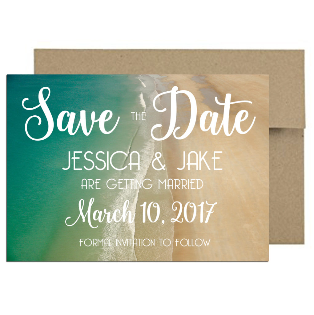 Beach themed wedding invite