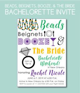 Beads, Beignets, Booze, and the Bride Bachelorette Invite