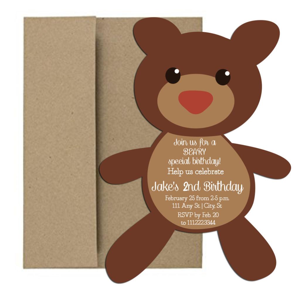 Bear Shaped Birthday Party Invite