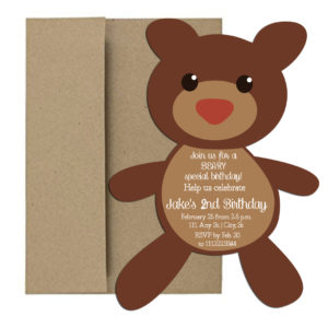 Bear Shaped Birthday Party Invite