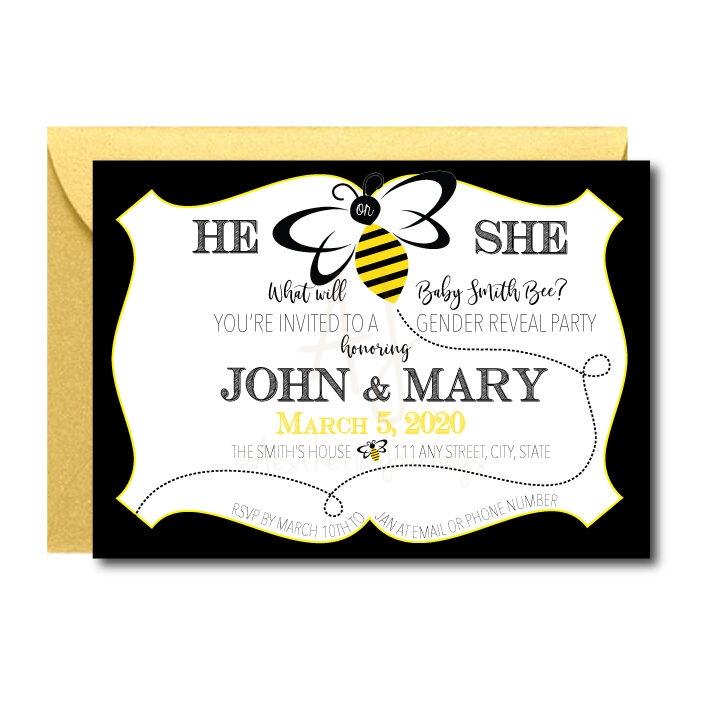 Bee Themed Gender Reveal Invite
