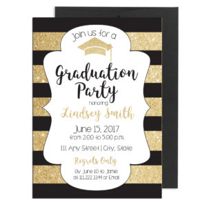 Gold and Black Stripe Graduation Invite