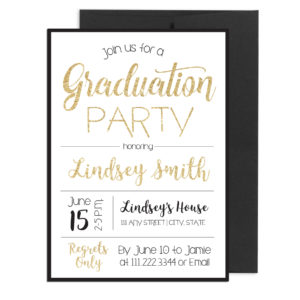 Gold and Black Sparkle Graduation Invite