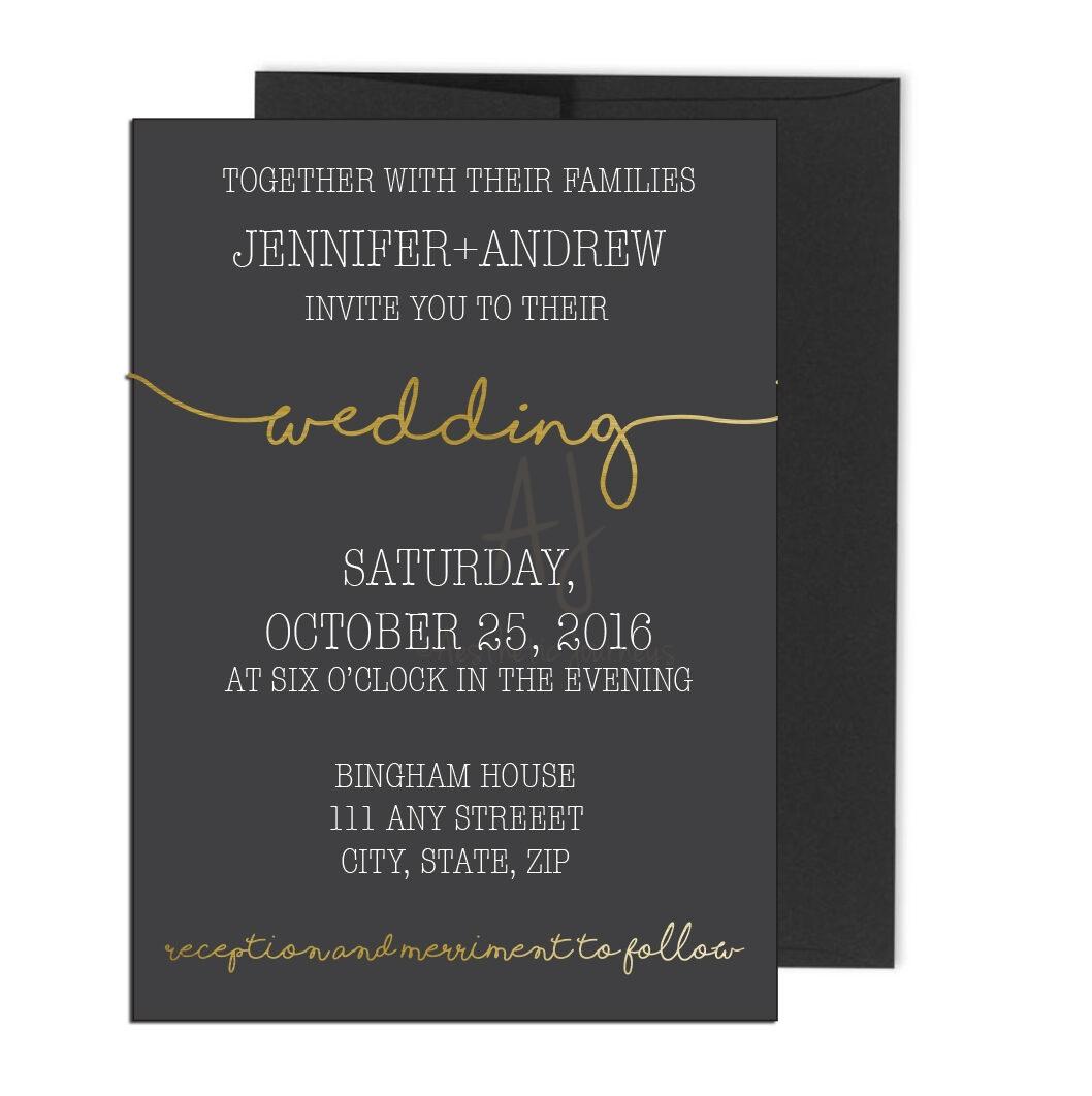 Black and gold wedding invite