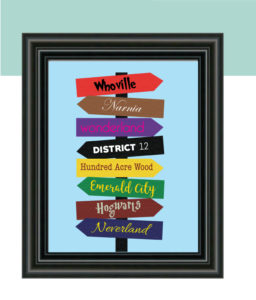 Book Themed Directional Sign