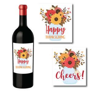 Fall Floral Wine Bottle Labels