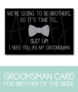 Brother of the Bride, Groomsman Card