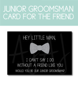 Junior Groomsman Card for the groom's bridal party gifts