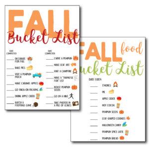Fall Themed Bucket Lists