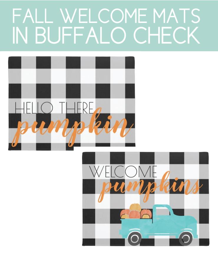 Fun fall welcome mats with buffalo check