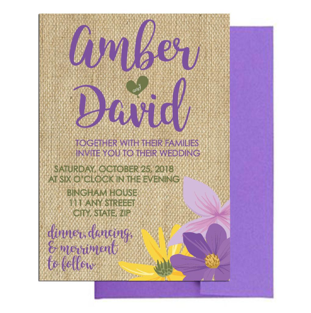Rustic Burlap Floral Invitations