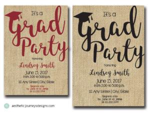 Burlap Graduation Invites