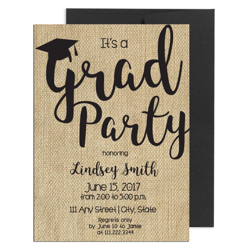 Rustic Burlap Graduation Invite