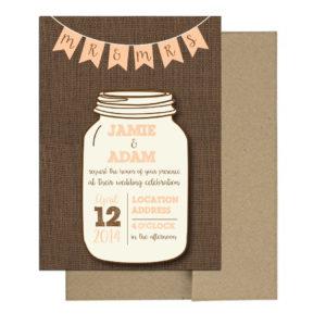 Burlap Mason Jar Invite