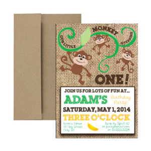 Rustic Monkey themed Party Invite