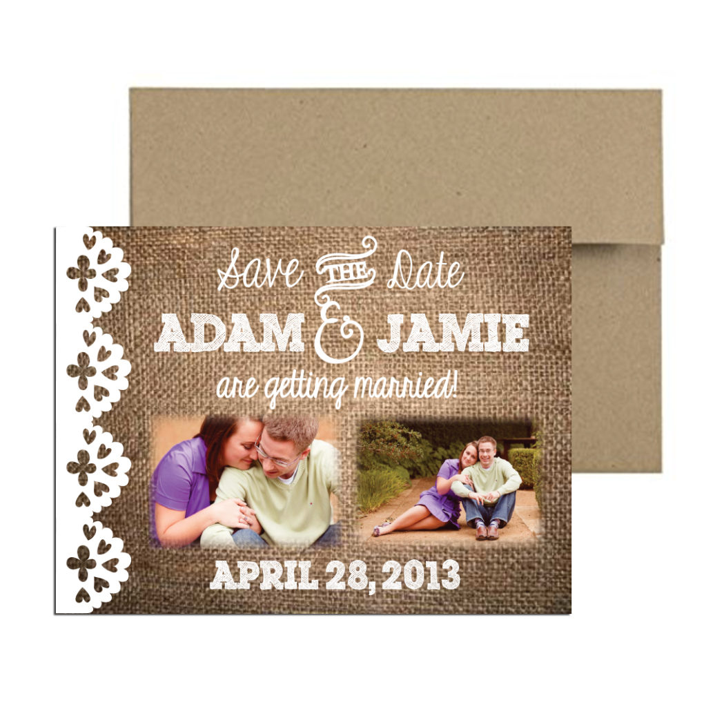 burlap photo magnet
