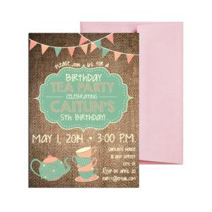 Burlap Tea Party Themed Invite
