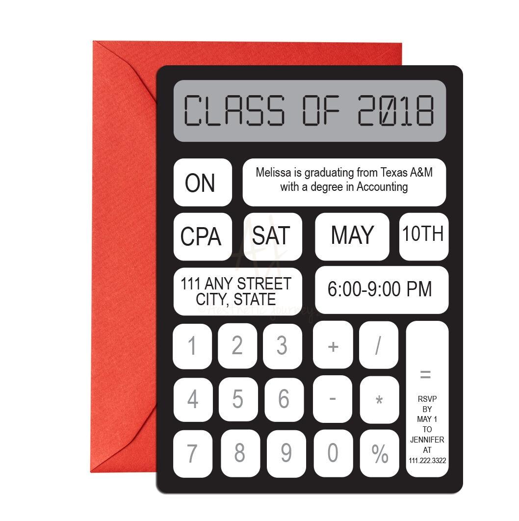 Calculator Themed Graduation Invite