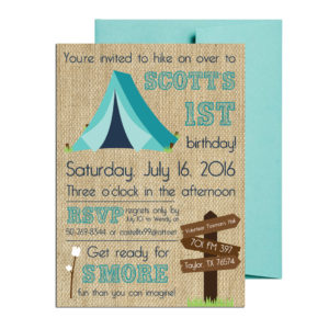 burlap camping themed party invite