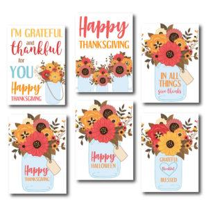 Fall Themed Floral Mason Jar Cards