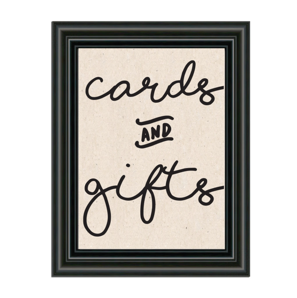 Cards and gifts sign