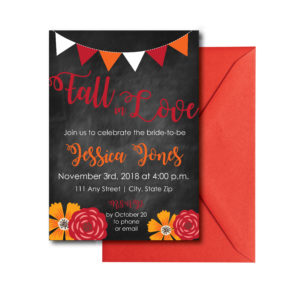 Fall Chalkboard Bridal Shower Invite
