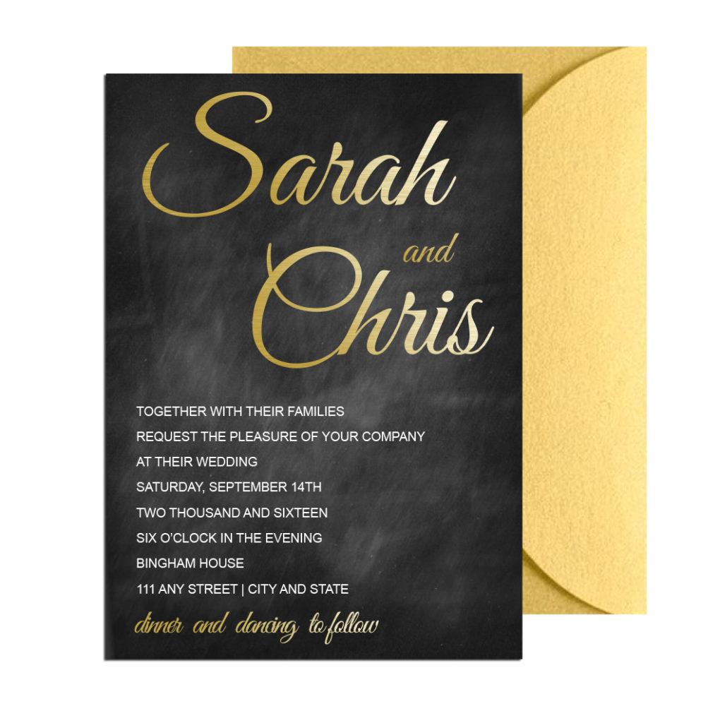 Chalkboard Gold Wedding Invite