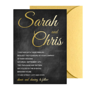 Chalkboard Gold Wedding Invite