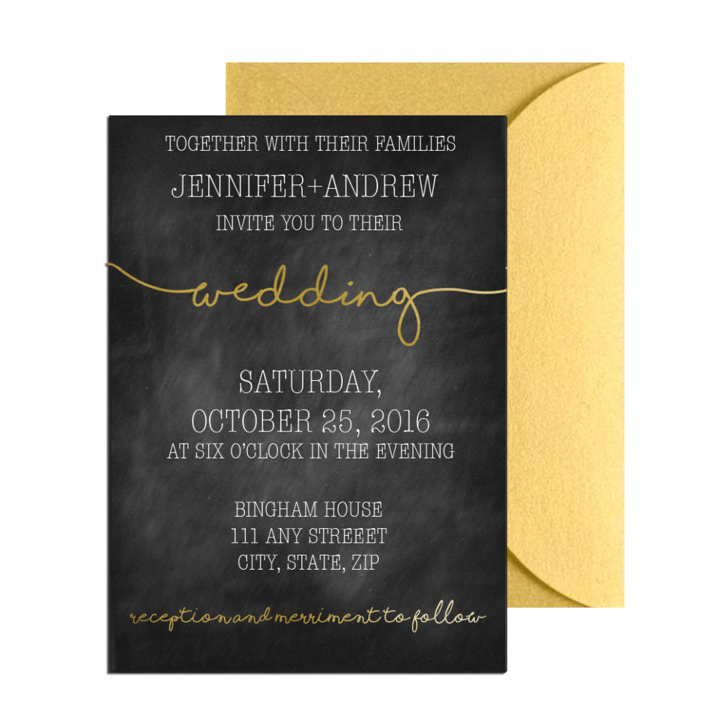 Gold Chalkboard Wedding Invite