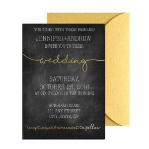 Gold Chalkboard Wedding Invite