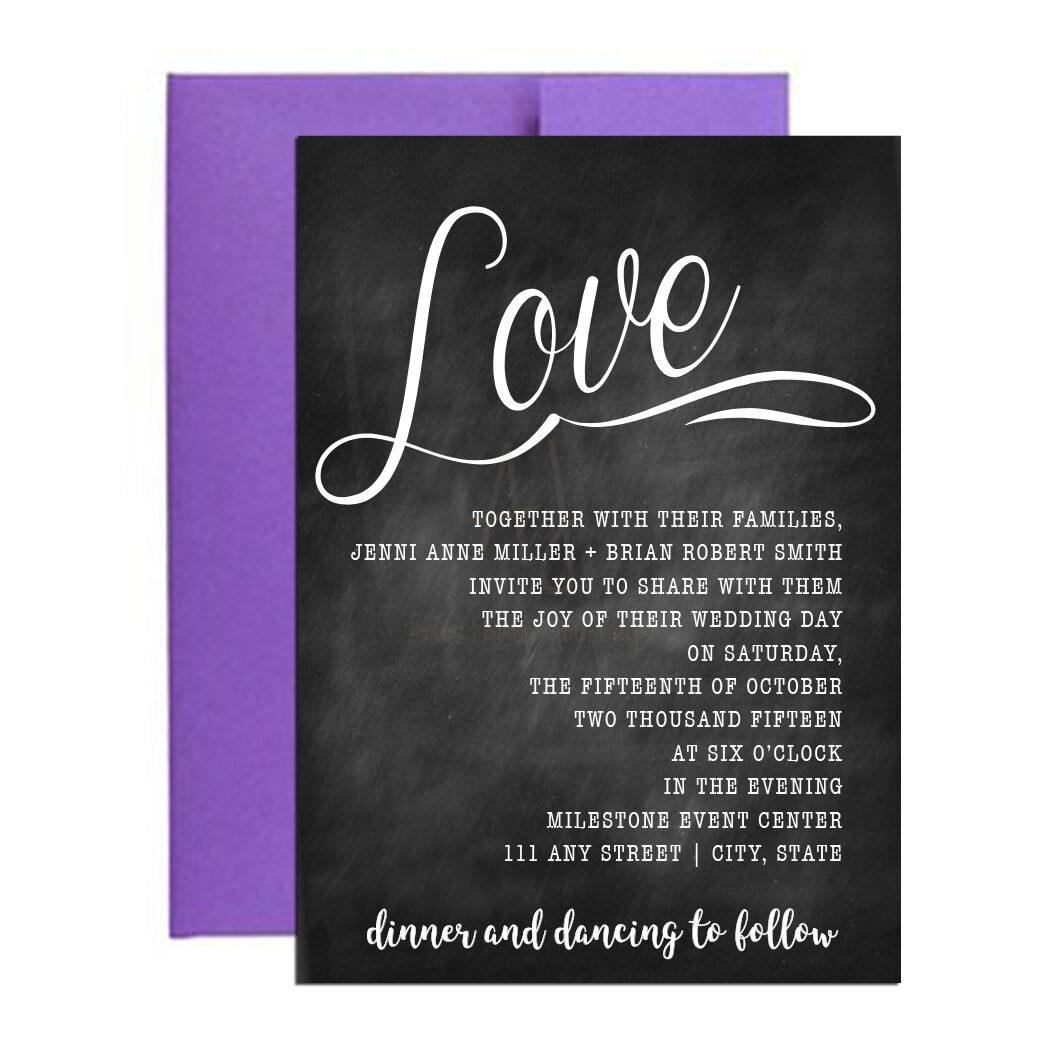 Chalkboard Cursive Wedding Invite