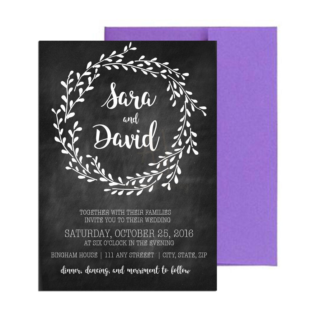 Floral Chalkboard Wedding Invite