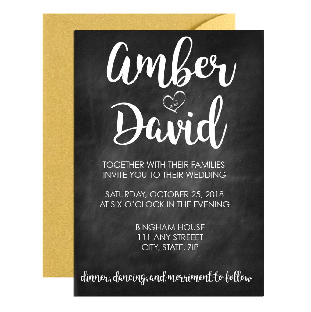 Chalkboard Wedding Invite with Cursive