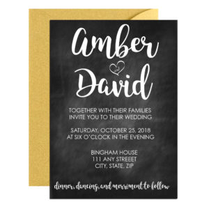 Chalkboard Wedding Invite with Cursive