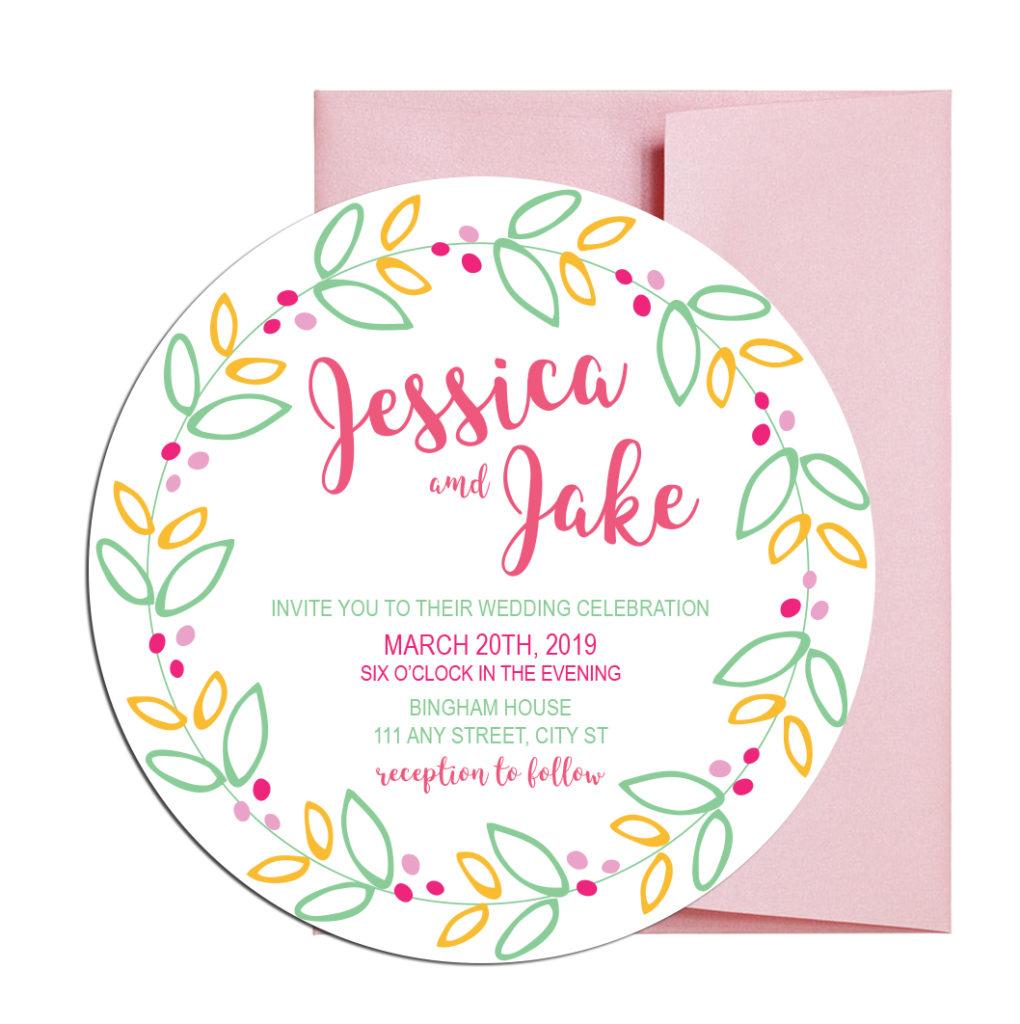 Circular Shaped Floral Invitations