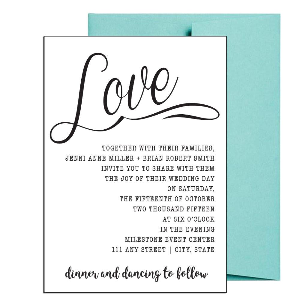 Cursive Wedding Invite Simple Style