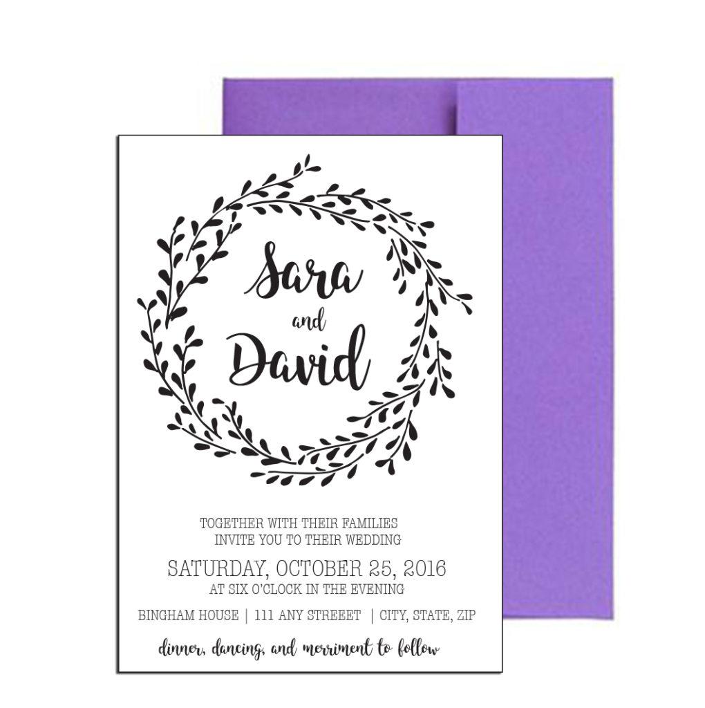 Simple Floral Wedding Invite