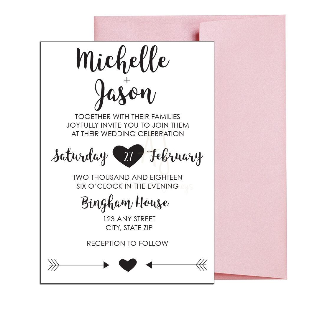 Classic Heart Wedding Invite