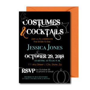 Costumes and Cocktails Bridal Shower Invite