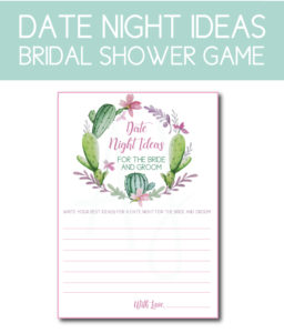 Date Night Ideas Game for the Bridal Shower