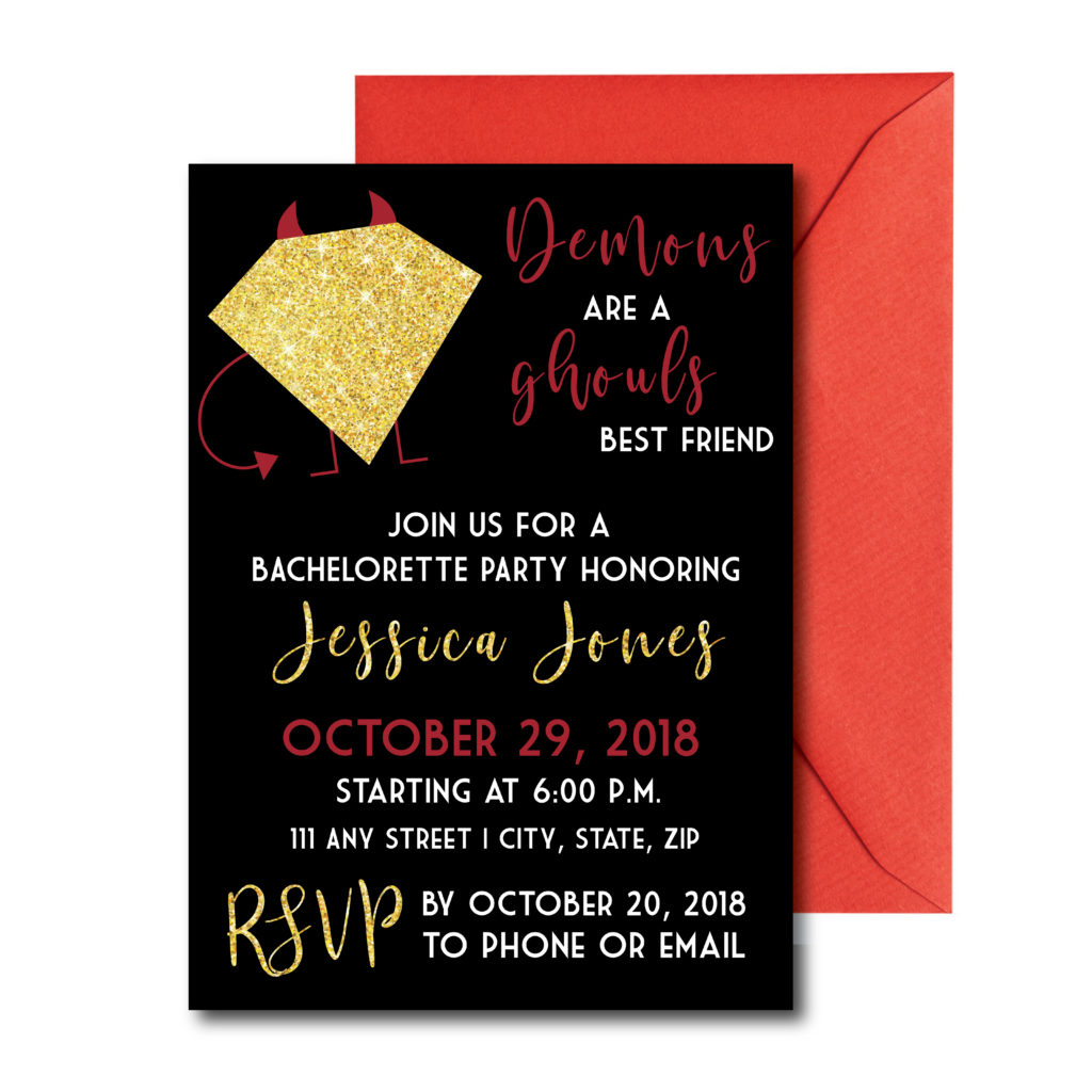 Demon Themed Bachelorette Invite